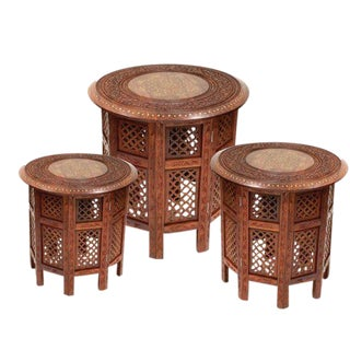 Vintage Indian Teak Carved Tables Brass Inlay Tabouret Style Table Set of 3