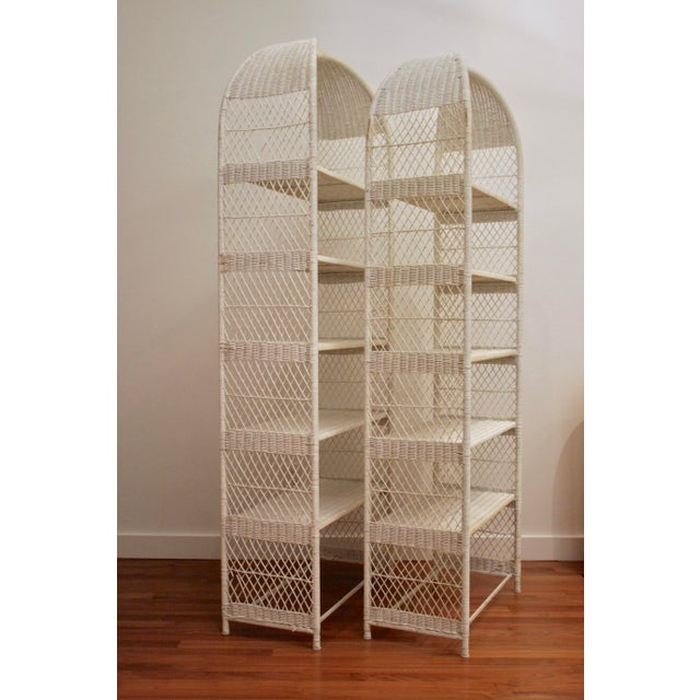 1970s Danny Ho Fong-Style Wicker Etageres, Set of 2 For Sale - Image 5 of 12