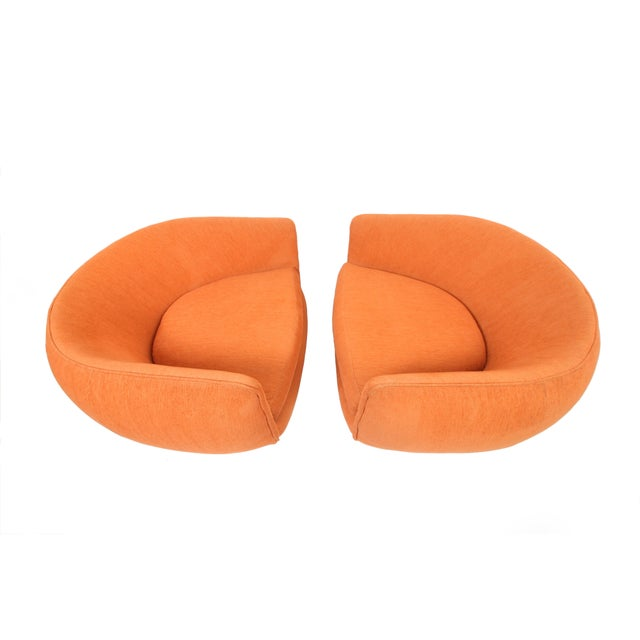Adrian Pearsall Vintage Swiveling Lounge Chair Pair - Milo Baughman, Adrian Pearsall Style - Original Vintage Design With Newer Fabric - Earthy Orange For Sale - Image 4 of 11