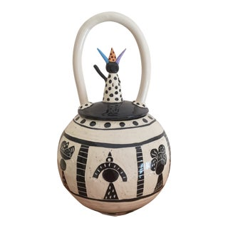 Jane Lowe Studio Pottery African Style Lidded Coil Pot For Sale
