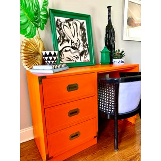 1960s Campaign Orange Lacquered Writing Desk Preview