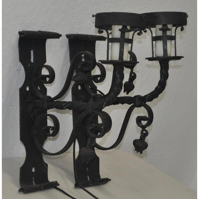 Pair of Early 20th Century Italian Wrought Iron Wall Sconces Beautiful late 19th to early 20th century Italian wrought...