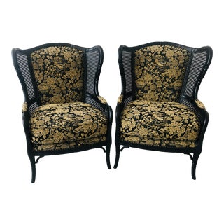 Pair of Chinoiserie Palm Beach Regency Toile Faux Bamboo Rattan Custom Upholstered Arm Chairs With Ebonized Frames For Sale