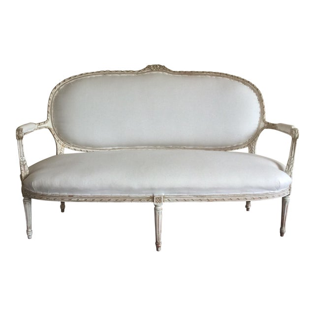 Antique French Settee With Worn White Painted Finish For Sale
