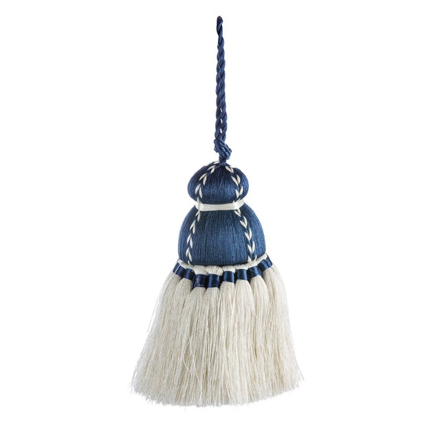 Transitional Navy & White Tassel, Small For Sale - Image 3 of 3