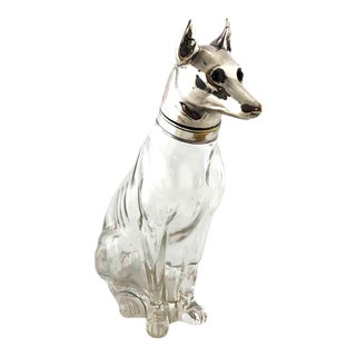 Circa 1910 Austrian Figural Dog Decanter – Alsatian German Shepherd – Silver Plate & Crystal For Sale