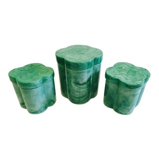 "Vintage Clover Shaped ""Malachite"" Style Vanity Storage Boxes - Set of 3 For Sale"