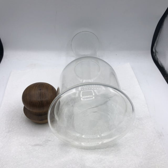 1970s Dansk Glass Decanter With Wood Stopper For Sale - Image 5 of 7