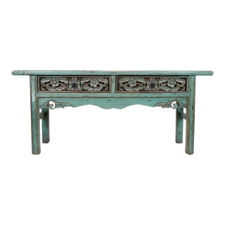 Turquoise Carved Drawer Console For Sale