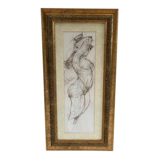 Gilt Framed Sketch of Standing Nude Woman - Unsigned For Sale