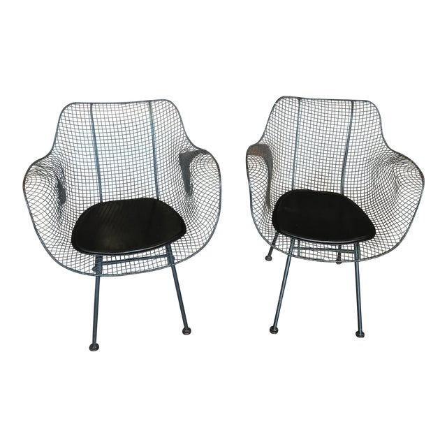 Vintage Mid-Century Biscayne Wire Armchairs - A Pair For Sale