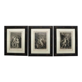 """""""Vulcanus and Ceres"""" by Titian NeoClassical Allegorical Engravings From London 1708 - Set of 3 For Sale"""
