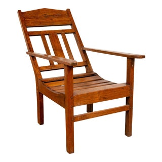 Javanese Vintage Dutch Colonial Plantation Wooden Lounge Chair with Slanted Back For Sale