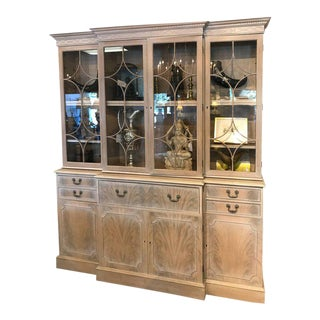 Georgian Style Whitewashed Breakfront or Bookcase For Sale