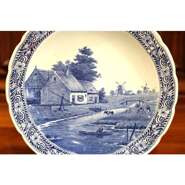 Rustic Early 20th Century Dutch Hand-Painted Delft Platter With Pastoral Scene For Sale - Image 3 of 11