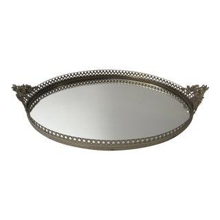 Vintage French Large Oval Filigree Silver Vanity Tray With Mirror and Floral Handles