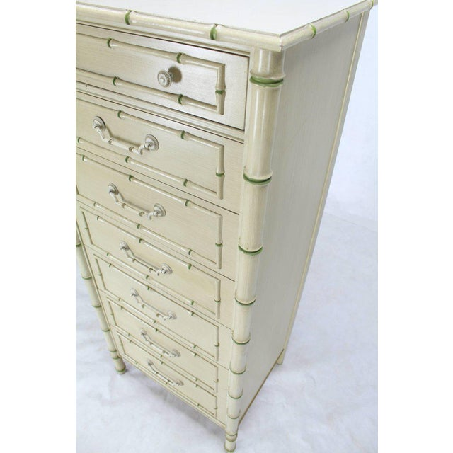 Gold Tall Faux Bamboo Decorated Seven Drawers Lingerie High Chest Dresser For Sale - Image 8 of 9