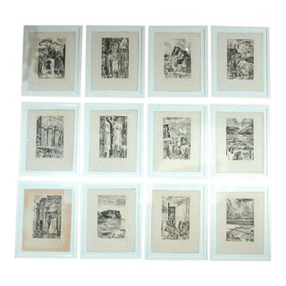 1950s Albert Decaris Framed Provence Etching - Set of 12 For Sale