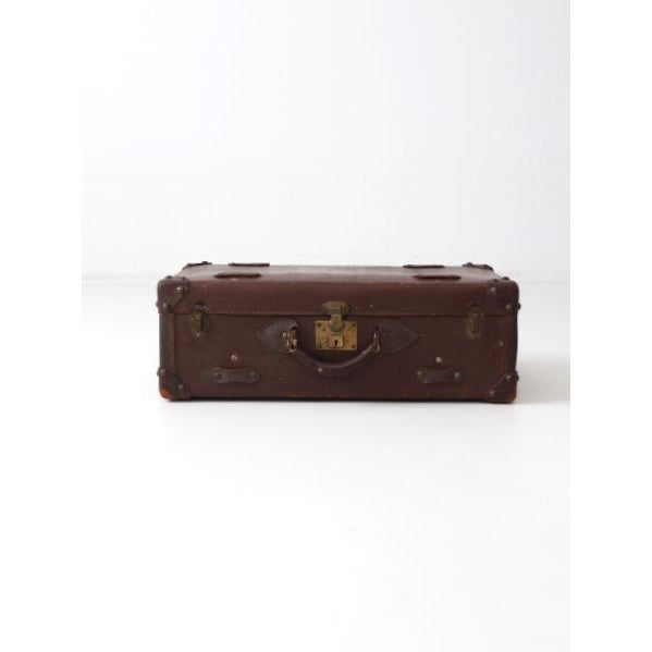 Brown Vintage Brown Leather Suitcase For Sale - Image 8 of 8