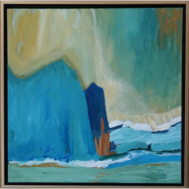 """Canvas Laurie MacMillan """"New Wave"""" Abstract Seascape Painting For Sale - Image 7 of 7"""