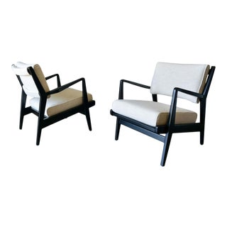 Pair of Ebonized Lounge Chairs by Jens Risom, Ca. 1965 For Sale