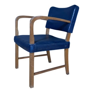 1940s Stained Oak Armchair With Blue Skai Leather Upholstery For Sale