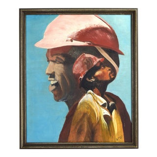 Vintage 1980's Oil Painting African-American Portrait Construction Worker Lineman Signed For Sale
