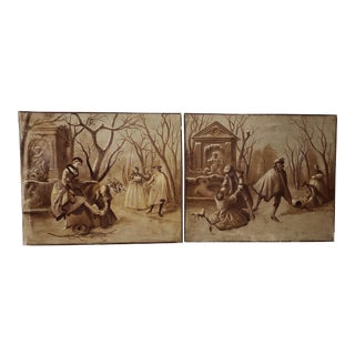 "Pair of Late 19th Century ""Ice Skating in Central Park"" Original Oil Paintings C.1890s For Sale"