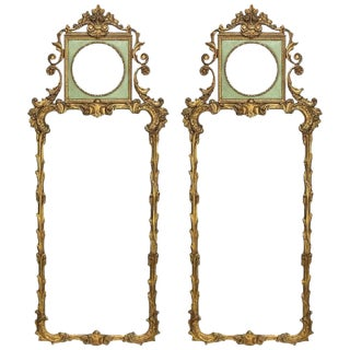 Rococo Revival Style Paint Decorated and Giltwood Console or Wall Mirrors, Pair For Sale