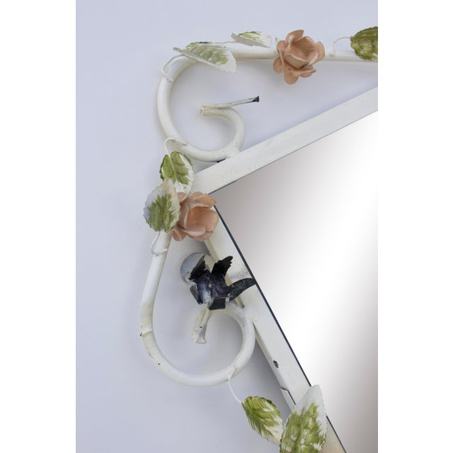 "Metal Italian Tole Mirror With Pale Pink Roses, 19"" X 24"" For Sale - Image 7 of 8"