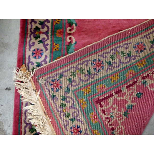 Art Deco 1930s Handmade Antique Art Deco Chinese Rug 2.10' X 5.10' For Sale - Image 3 of 9