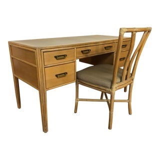 McGuire Vintage Bamboo Writing Desk With Matching McGuire Rattan and Leather Chair For Sale
