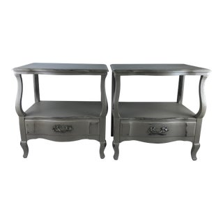 1950s French John Widdicomb Gray Nightstands - a Pair For Sale