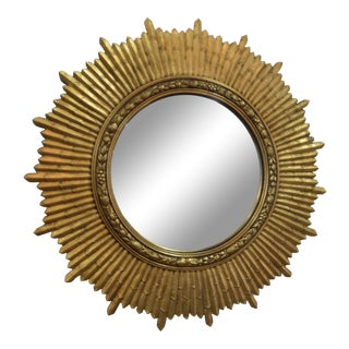 1950s Mid-Century Modern Gilded Sunburst Mirror For Sale