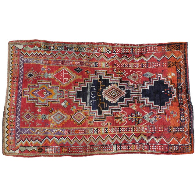 """Vintage Persian Gabbeh Rug- 4'10"""" x 7'10"""" For Sale"""