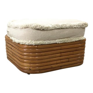 1940s Vintage Frankl-Style Rattan Ottoman For Sale