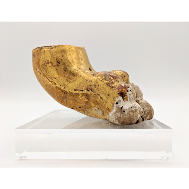 18th Century French Gold Gilt Lion Paw Sculpture on Lucite For Sale - Image 9 of 12