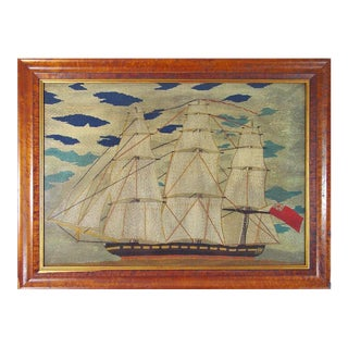 Sailor's Woolwork Woolie Large Picture of a Ship, Circa 1855-1865.