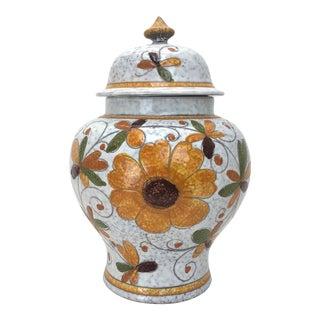 Italian Sunflower Lidded Urn - a Pair For Sale