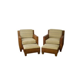 Boho Chic Rattan Wicker Club Lounge Chairs & Ottomans - a Pair For Sale