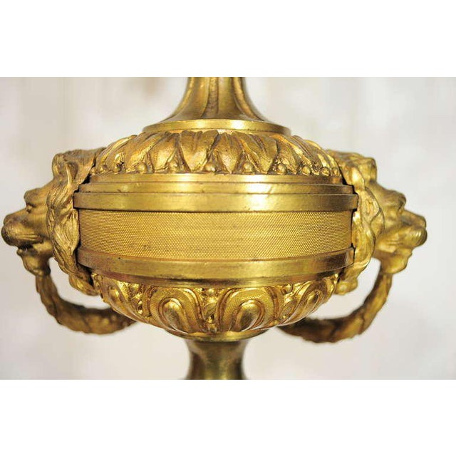 Late 19th Century 19th Century Figural French Louis XV Style Gilt Bronze Lion Candelabra Table Lamp For Sale - Image 5 of 11