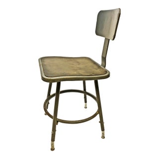 Vintage Industrial Gray Metal Drafting Stool by InterRoyal