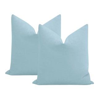 "22"" Hydrangea Blue Performance Linen - a Pair For Sale"