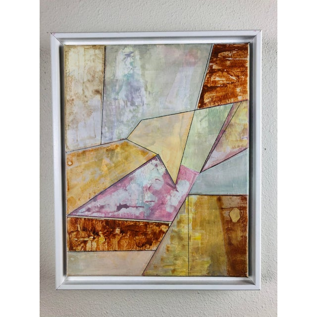 This is an original one of a kind acrylic painting. The color palette is yellow and dark orange rust. It is framed in a...