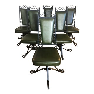 1950s Swivel Iron Frame Emerald Green Vinyl Dining Chairs- Set of 6 For Sale
