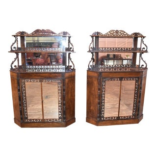 Rosewood Meeks Converted Corner Cabinets-a Pair For Sale