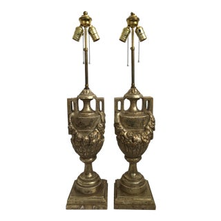 Vintage French Neoclassical Style Carved Silver Giltwood and Marble Draped Urn Lamps - a Pair For Sale