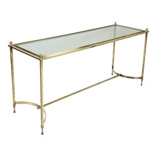 Vintage Brass and Chrome Glass-Top Console Table For Sale
