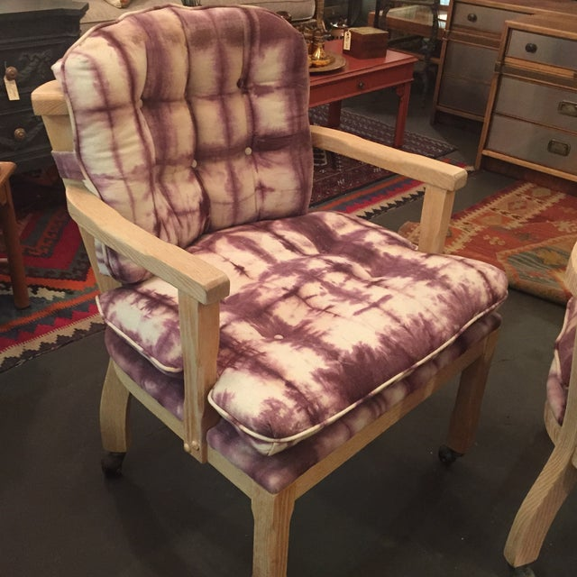 Vintage Lined Wood Armchairs on Casters - A Pair - Image 8 of 10