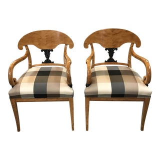 Biedermeier Birch Arm Chairs - A Pair